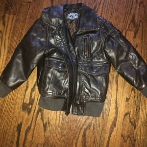 Toddler size 2/3 faux bomber jacket brown
